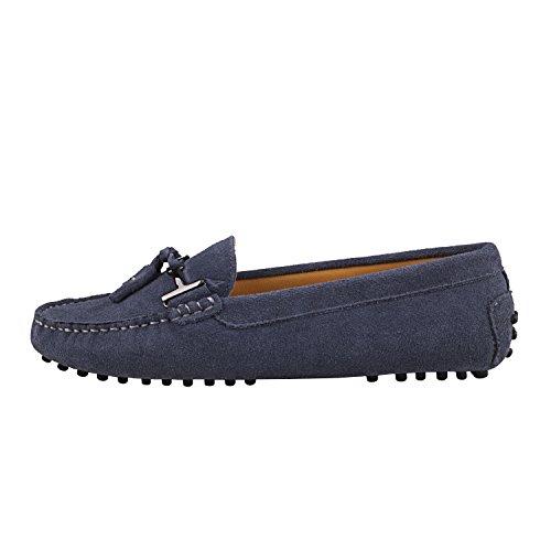 Schuhe mit Bällchen Damen Metallschnallen Sommer Mokassins Shenduo Slippers und D7057 Freizeit Grau Lederschuhe vZgXpq