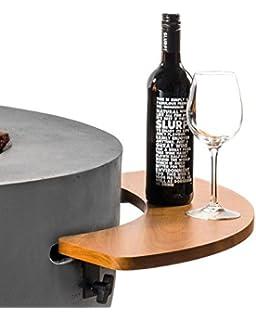 Mania Cocoon mesa auxiliar para mesa redonda de gas Chimenea Ponche flambeado grande, madera de teca semicircular,…