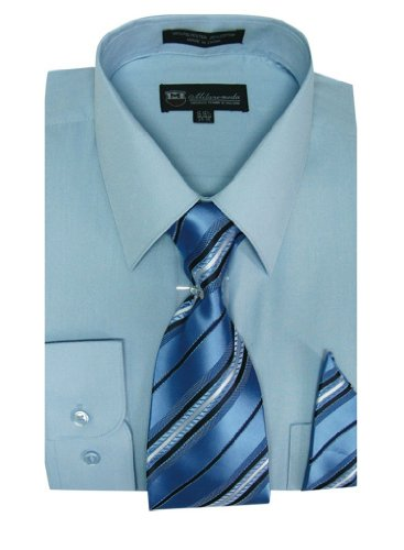 Milano Moda Men's Long Sleeve Dress Shirt With Matching Tie And Handkie SG21A-SkyBlue-17-17 1/2-36-37