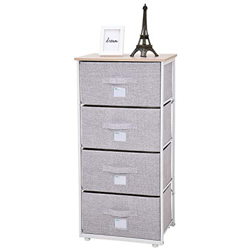 Ollieroo Fabric 4-Drawer Storage Organizer Dresser Home Organizer Bedside Table End Tables - Linen