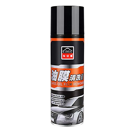 Automobile Front Windshield Cleaner Oil Film Cleaner Glass Decontamination Agent for Automotive Glass Rearview Mirror Etc (200ml) (Lees Sponge Filter)