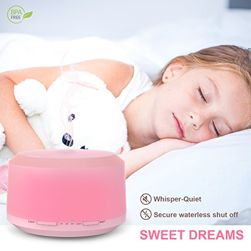 Large Product Image of Essential Oil Diffuser 450ml Aromatherapy Diffusers For Essential Oils Neloodony Cool Mist Humidifiers With 8 Color LED Lights,Waterless Auto Shut-off,Adjustable Mist Mode & 4 Timer Setting For Home