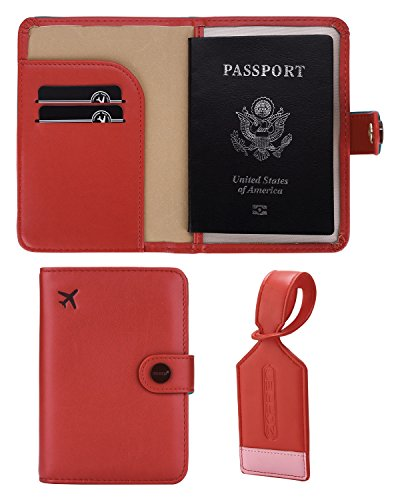 Zoppen Rfid Blocking Travel Passport Holder Cover w/ 1 Luggage Tag, #15 Scarlet Red
