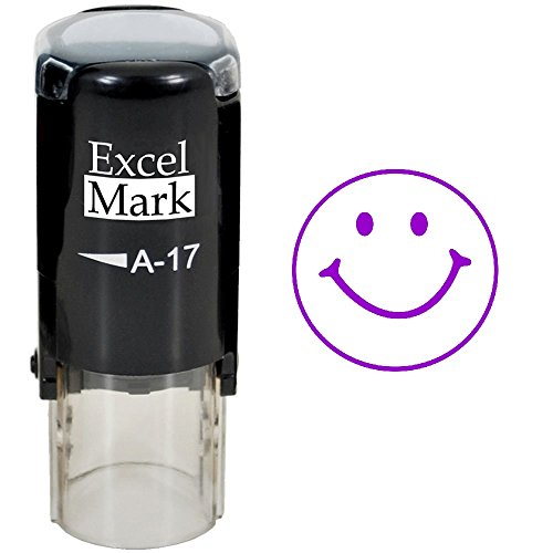 - Smiley FACE - ExcelMark Self-Inking Round Teacher Stamp - Purple Ink