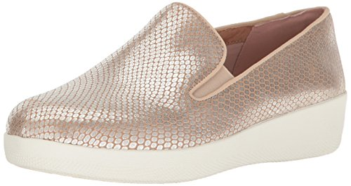 FitFlop Leather Superskate Snake Silver Flat Women's Loafer rqxzwAUrp