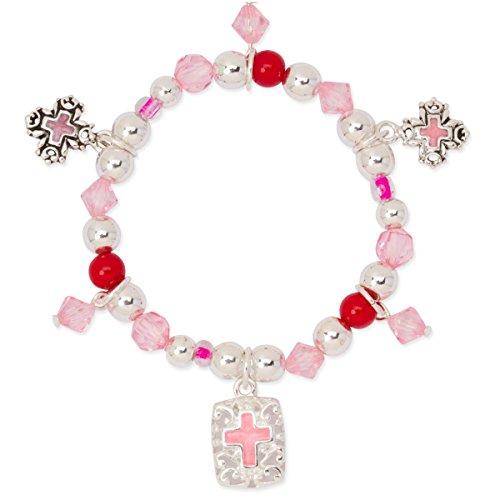 (Girls Cross Pink Red Bead Silver Tone Filigree Stretch Charm Bracelet)