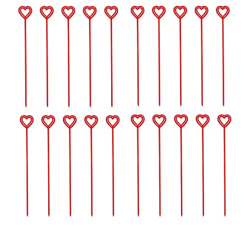 Floral Heart Card - LONG TAO 100Pcs Plastic Heart Floral Picks Card Holders Craft Card Note Clip Valentine's Day Floral Picks (Red)