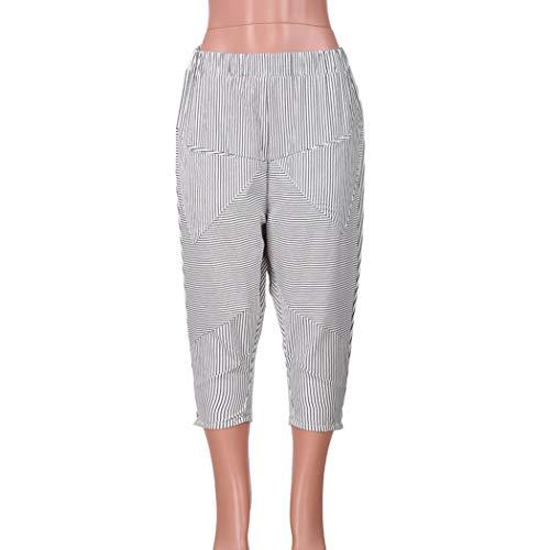 Yoga Pantalones Vaqueros Ocio Fitness Ancha Cintura Impreso Bolsillo ASHOP Cintura Raya Blanco de de Alta de Boho Estilo Pantalones Mujer Jeans de Leggings de Pantalón Cordón de Pata rzrvg
