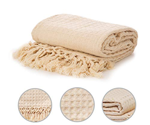 - Organic Cotton Waffle Throw - Cotton Weave Blanket Lightweight - Waffle Weave Throw - Waffle Throw Blanket - Organic Throws - Lightweight Cotton Throws for Summer - (Waffle Throw Natural (50x60))