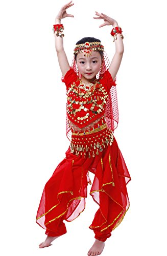 Arabic Dance Costume For Kids (Astage Girls Cosplay Belly Dance CostumeRed M(Fits 47in-52in))
