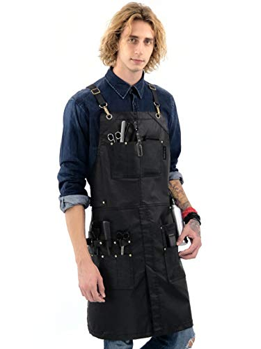 Under NY Sky Barber Black Apron - Leather Straps, Pockets, Reinforcements - Crossback - Coated Black Twill, Tool Pockets, Split-Leg - Adjustable for Men, Women - Barista, Bartender, Hairstylist, Salon