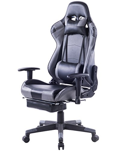 HEALGEN Big and Tall Gaming Chair With Footrest PC Computer Video Game Chair Racing Gamer Pu Leather Chair High Back Swivel Executive Ergonomic Office Chair with Headrest Lumbar Support Cushion (Grey) Review