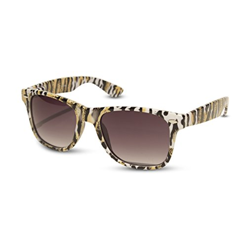 Zebra & Animal Print Wayfarer Sunglasses Rainbow & Various Colors Retro Urban (Tan/Black Animal - Sunglasses Zebra