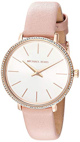 Michael Kors Women's Pyper Stainless Steel Quartz Watch with Leather Strap,Rose Gold/Pink/White, -