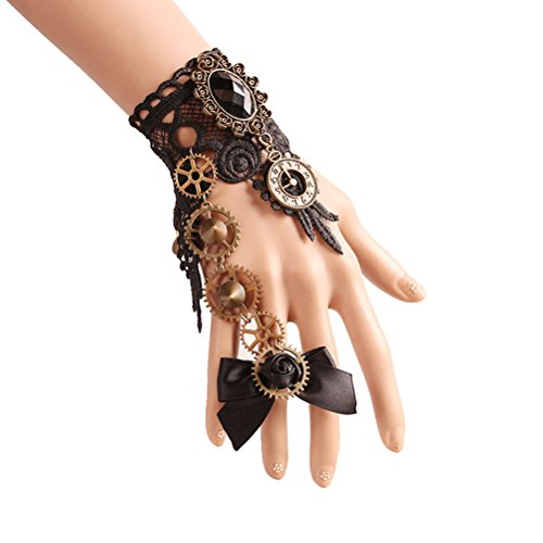 [Gothic Black Lace Bracelet Steampunk Vampire Slave Flowers Wristband Ring Set Wedding Accessories] (Steampunk Accessories For Women)