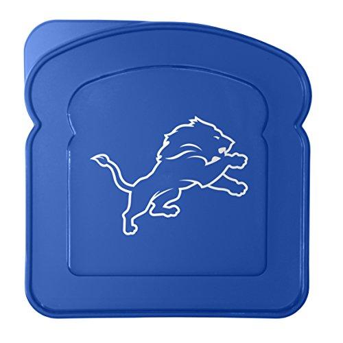 Lions Box Lunch (Boelter Brands NFL Detroit Lions Plastic Sandwich Container Container, Blue, 5.5)