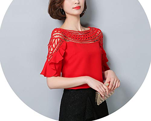Chiffon Tops Blouses 2018 Short sled lace Hollow Out Blusas Plus Size Women Shirt 960G 30,red,XL