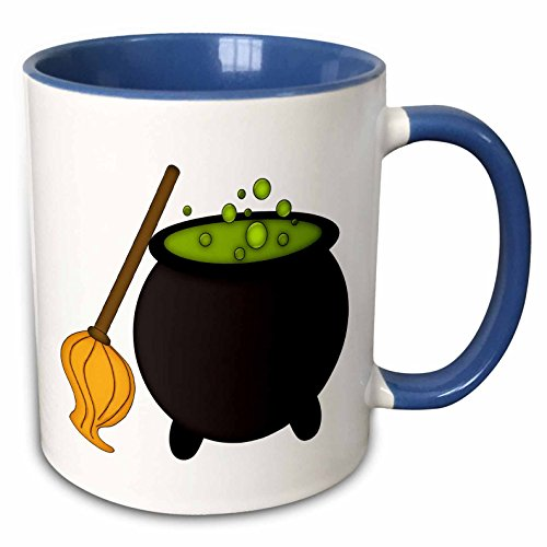 3dRose Anne Marie Baugh - Halloween - Halloween Cauldron With Green Bubbles and Witches Broom Illustration - 15oz Two-Tone Blue Mug (mug_216730_11)]()