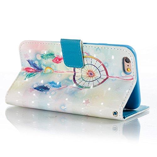 iPhone 6 Plus Hülle Feather Windspiele PU Leder Wallet Handytasche Flip Etui Schutz Tasche mit Integrierten Card Kartensteckplätzen und Ständer Funktion Für Apple iPhone 6 Plus / 6S Plus + Zwei Gesche