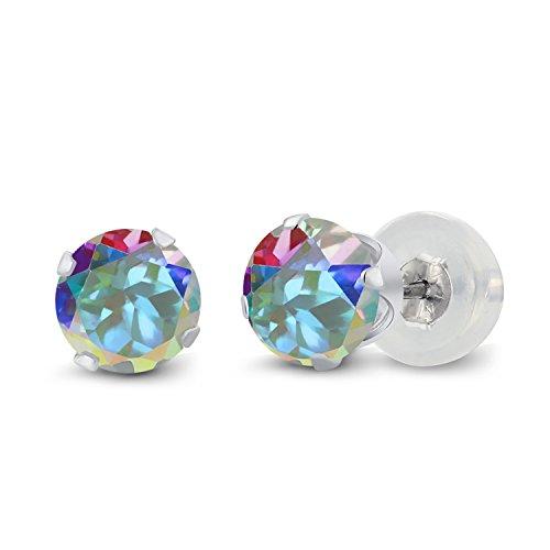 Gem Stone King Round 5mm Mercury Mist Mystic Topaz 10K White Gold Stud Earrings