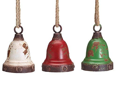 Rustic Red, White, Green Tin Bell, Set of 3, 6 Inches (Rustic Christmas Bells)