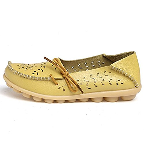 Fengda Dames Holle Lederen Ademende Schoenen Platte Bodem Vlakke Bodem Rijschoenen Boot Loafers Geel