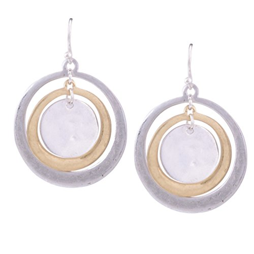 Women Fashion Round Two-Tone Drop Dangle Earrings Silver Gold XFCT19-4