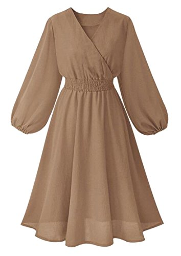 V Neck 2 Long Womens Casual Swing Dresses Sleeve Line Wrap Jaycargogo A ZwqEXFPtw