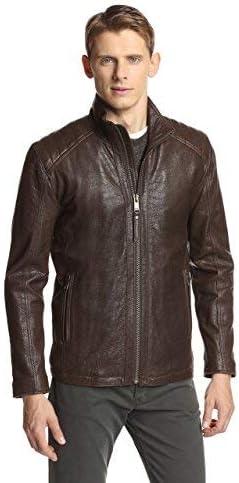 Woojo New Brand Stylish Mens Real Genuine Lambskin Leather Brown Jacket WJ129