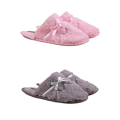 Pantoufles Femme Lot de 2 Couleur - Gris/Rose Taille - 37