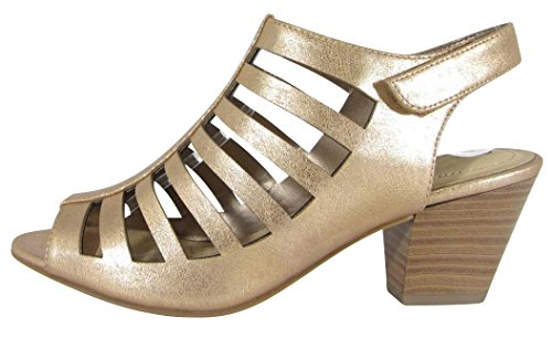 Cambridge Chunky Heel Bootie Gladiator Cutout Pu Ankle Toe Mid Women's Stacked Peep Gold Caged Select Rose 0Bvrq0