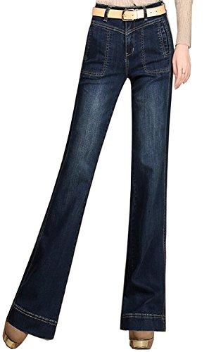 Youtobin Women's Fashion High Waisted Boot Cut Denim Pants Jeans 30 Navy Blue - High Waisted Wide Leg Jean