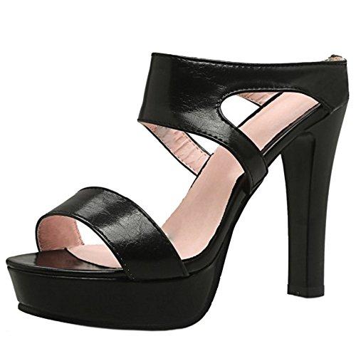 COOLCEPT Mujer Moda Plataforma Punta Abierta Mules Sandalias Tacon Ancho Alto Zapatos Negro