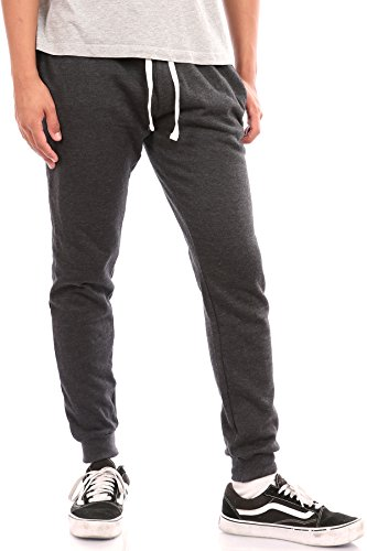 Pro Cube Men's Joggers Sweatpants Basic Fleece Marled Jogger Pant Elastic Waist (Large, Charcoal)