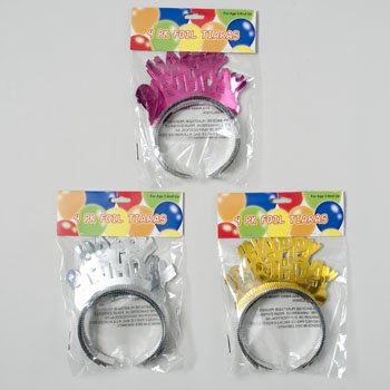 TIARA HAPPY BDAY 4PK FOIL PAPER PINK/SILVER.GOLD 6.25 X 6.5IN, Case Pack of (International Silver Golden Tiara)