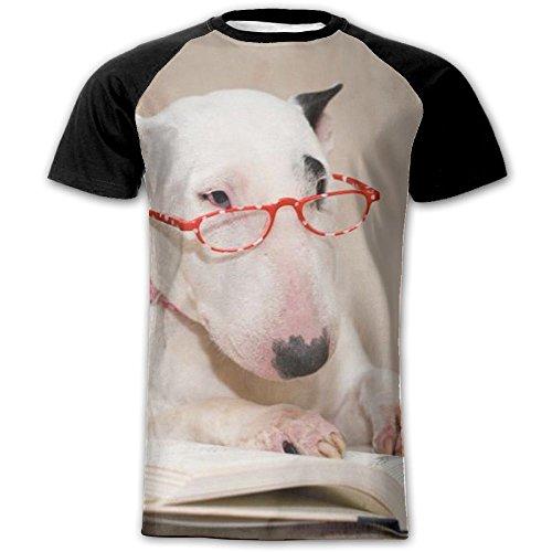 Reading Dog Fashion Men's Shirts Customize Raglan Short Sleeve T Shirt Gym T Shirt Large (Dog Customize Shirts)