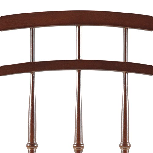 Bailey Wooden Headboard Panel with Intricate Spindles and Round Post Finials, Merlot Finish, Full / Queen