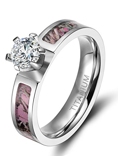 5mm Women's Rose Camo Titanium Rings with Cubic Zirconia Polished Finish Comfort Fit (5)