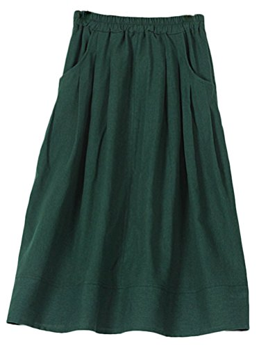 Soojun Women's Casual Loose Pleated Cotton Linen Long Maxi Skirts Dark (Green Linen Skirt)