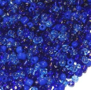 (Steven_store SBL1945 Blue Rhapsody 6/0 4mm Shades of Blue Glass Seed Bead Premium Mix 4oz Making Beading Beaded Necklaces Yoga Bracelets)