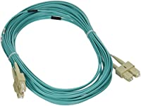 eDragon ED90195 10 Gigabit Aqua Fiber Optic Cable, SC/SC, Multimode, Duplex, 50/125, 10m, 2 Pack