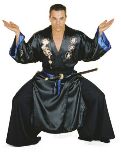 Asian Costumes For Men (Underwraps Men's Samurai, Black/Blue, One Size)
