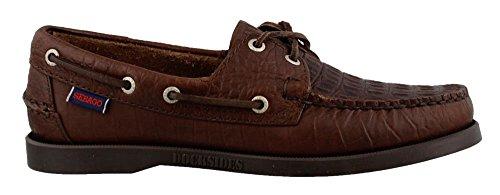 Sebago Men's Docksides Boat Shoe, Dark Brown Embossed Leather, 10 D US (Brown Leather Embossed Dark)