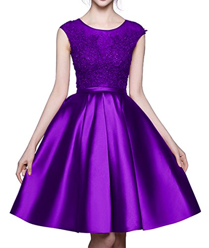 Formal Short Beaded MALL Purple Women's Homecoming Prom BRL39 Gowns Dresses Lace Party Bridesmaid Cap BRL Sleeves nEPwZxqP