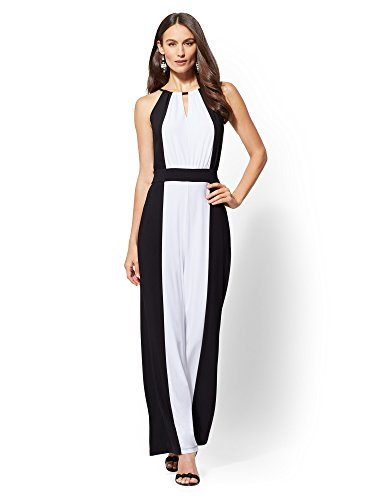 Stores Clothing New York Women (New York & Co. Women's Two-Tone Halter Jumpsuit Large Black)