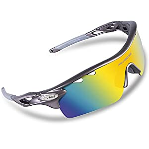 RIVBOS 801 Polarized Sports Sunglasses Sun Glasses with 5 Interchangeable Lenses for Men Women Baseball Cycling Runing (Grey)