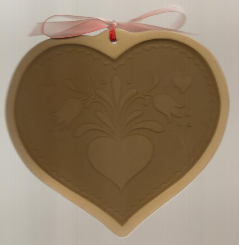 1986 Brown Bag Cookie Art Mold - Heart Tole Folk Art