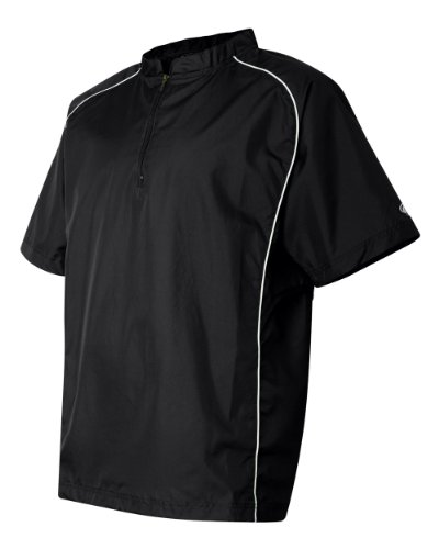 Rawlings Adult Quarter-Zip Short Sleeve Dobby Jacket With Piping (Black) (2X)