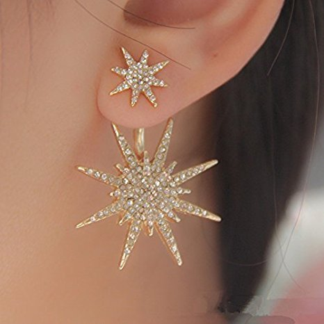 1 Piece Women Lady Crystal Rhinestone Dangle Gold Star Ear Stud Earring (Hot Fashion Rings)