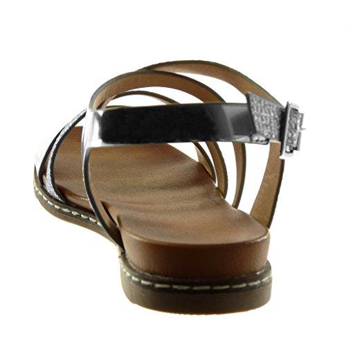 Sandale Angkorly de 3 Talon Bloc Cheville Brillant Chaussure Multi Serpent cm Bride Femme Peau Argent Lanière Mode rEWz7n6qr